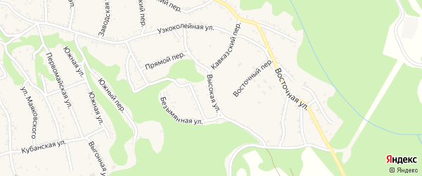 Высокая улица на карте Каменномостского поселка с номерами домов