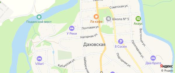 Нагорная улица на карте Даховской станицы с номерами домов