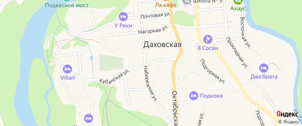 Кубанская улица на карте Даховской станицы с номерами домов