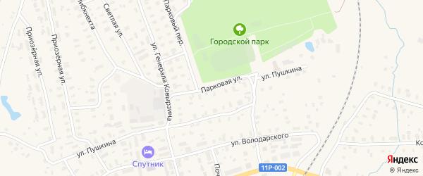 Парковая улица на карте Няндомы с номерами домов