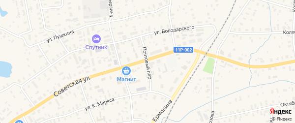 Почтовый переулок на карте железнодорожной станции Полохи с номерами домов