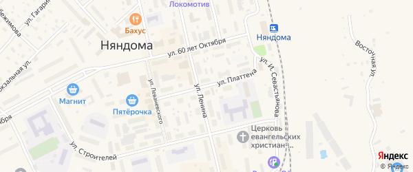 Улица Ф.Платтена на карте Няндомы с номерами домов