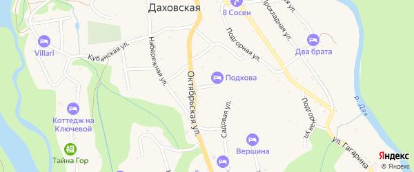 Кривая улица на карте Даховской станицы с номерами домов