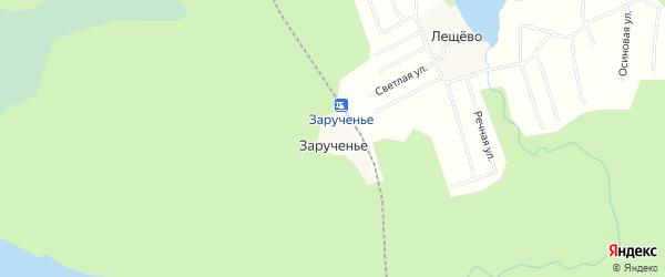 Карта железнодорожного разъезда Зарученья в Архангельской области с улицами и номерами домов