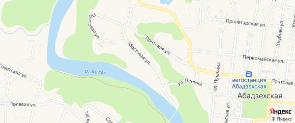 Мостовая улица на карте Абадзехской станицы с номерами домов