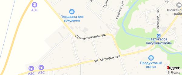 Промышленная улица на карте аула Мамхег с номерами домов