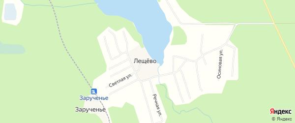 Карта поселка Лещево в Архангельской области с улицами и номерами домов