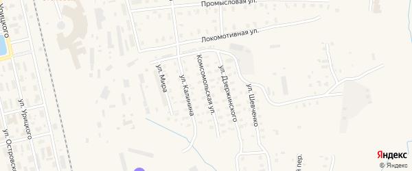 Комсомольская улица на карте Няндомы с номерами домов