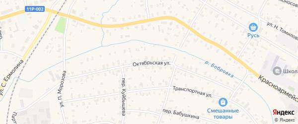 Октябрьская улица на карте железнодорожной станции Лепши с номерами домов