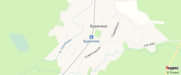 Карта железнодорожной станции Бурачихи в Архангельской области с улицами и номерами домов