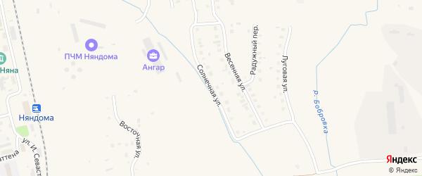 Солнечная улица на карте Няндомы с номерами домов