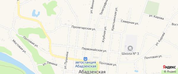 А/Д Абадзехская-Новосвободная дорога на карте Абадзехской станицы с номерами домов