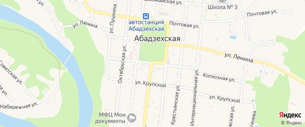 Телеграфная улица на карте Абадзехской станицы с номерами домов