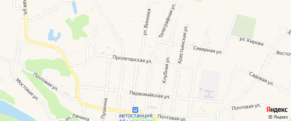 Пролетарская улица на карте Абадзехской станицы с номерами домов