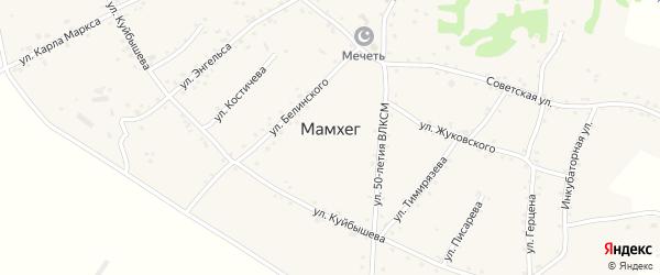 Школьный переулок на карте аула Мамхег с номерами домов