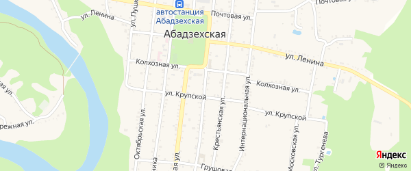 Клубная улица на карте Абадзехской станицы с номерами домов
