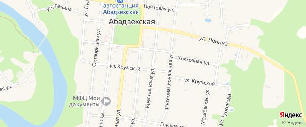 Крестьянская улица на карте Абадзехской станицы с номерами домов