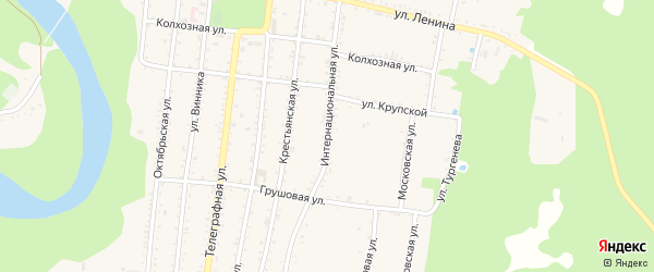 Интернациональная улица на карте Абадзехской станицы с номерами домов