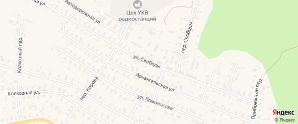 Улица Свободы на карте Няндомы с номерами домов