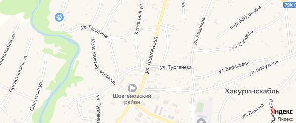 Улица Тургенева на карте аула Хакуринохабля с номерами домов