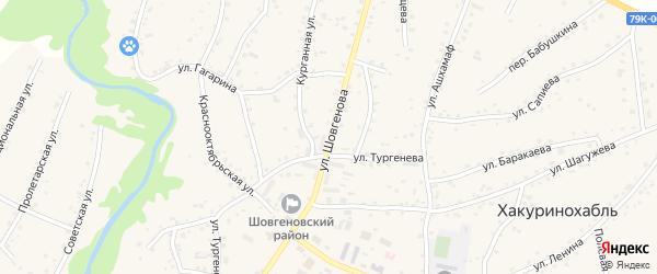 Улица Шовгенова на карте аула Хакуринохабля с номерами домов