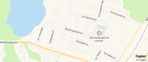 Вологодская улица на карте поселка Коноши с номерами домов