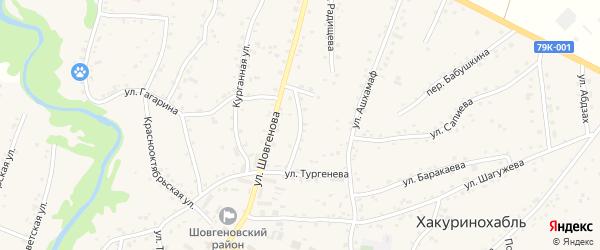 Улица Матросова на карте аула Хакуринохабля с номерами домов