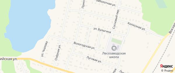 Физкультурный переулок на карте поселка Коноши с номерами домов