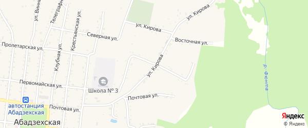 Садовая улица на карте Абадзехской станицы с номерами домов