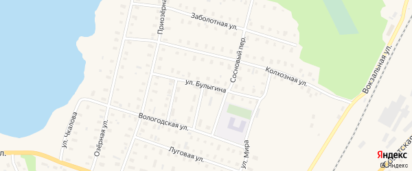 Улица Булыгина на карте поселка Коноши с номерами домов