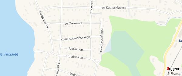 Сосновый переулок на карте поселка Коноши с номерами домов