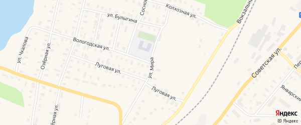 Улица Мира на карте поселка Коноши с номерами домов