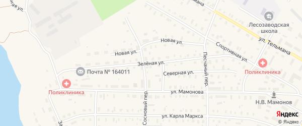 Зеленая улица на карте поселка Коноши с номерами домов