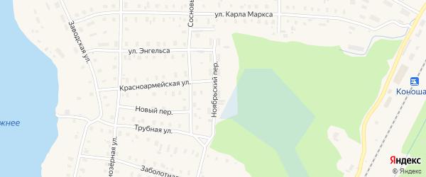 Ноябрьский переулок на карте поселка Коноши с номерами домов