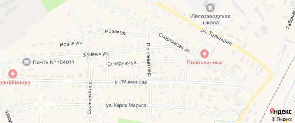 Северная улица на карте поселка Коноши с номерами домов