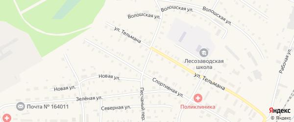 Песчаный переулок на карте поселка Коноши с номерами домов