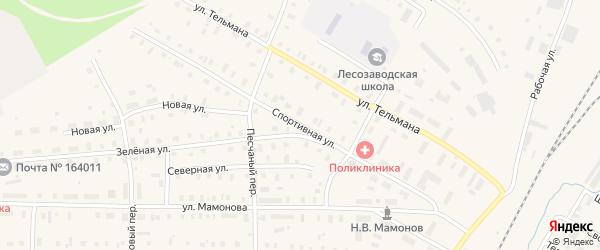 Спортивная улица на карте поселка Коноши с номерами домов