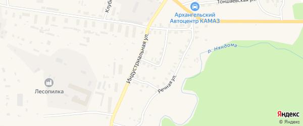 Индустриальный переулок на карте Няндомы с номерами домов