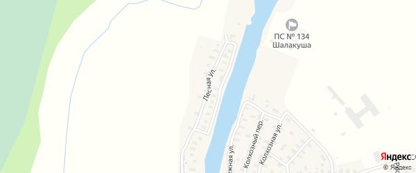 Лесная улица на карте поселка Шалакуши с номерами домов