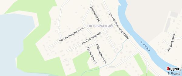 Улица Строителей на карте поселка Шалакуши с номерами домов