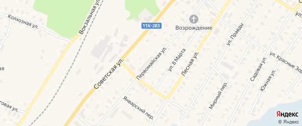 Первомайская улица на карте поселка Коноши с номерами домов