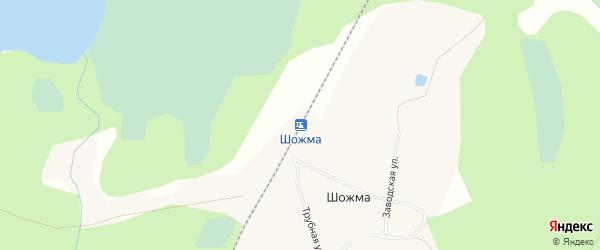 Карта железнодорожной станции Шожмы в Архангельской области с улицами и номерами домов
