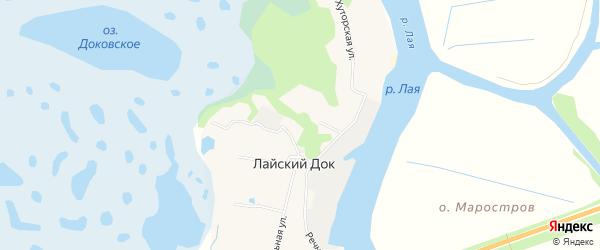 Карта поселка Лайского Дока в Архангельской области с улицами и номерами домов