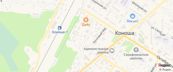 Улица Ломоносова на карте поселка Коноши с номерами домов