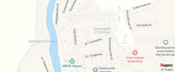Переулок Суворова на карте поселка Шалакуши с номерами домов
