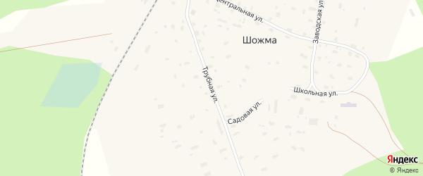 Трубная улица на карте железнодорожной станции Шожмы с номерами домов