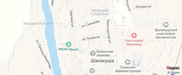 Улица Гагарина на карте поселка Шалакуши с номерами домов