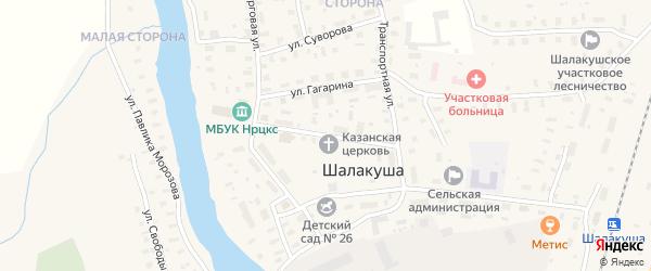 Октябрьская улица на карте поселка Шалакуши с номерами домов