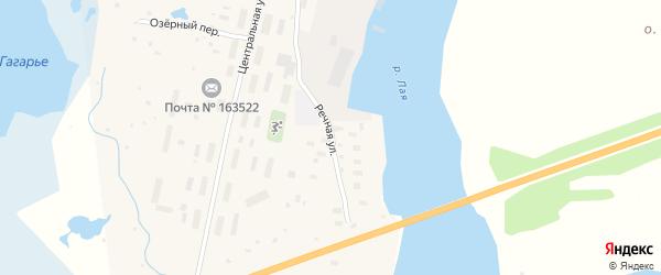 Речная улица на карте поселка Лайского Дока с номерами домов