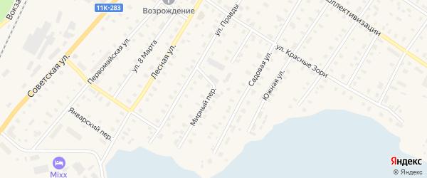 Мирный переулок на карте поселка Коноши с номерами домов